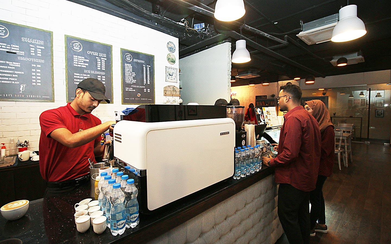 Nerdy Bean Coffee Haus's coffee counter