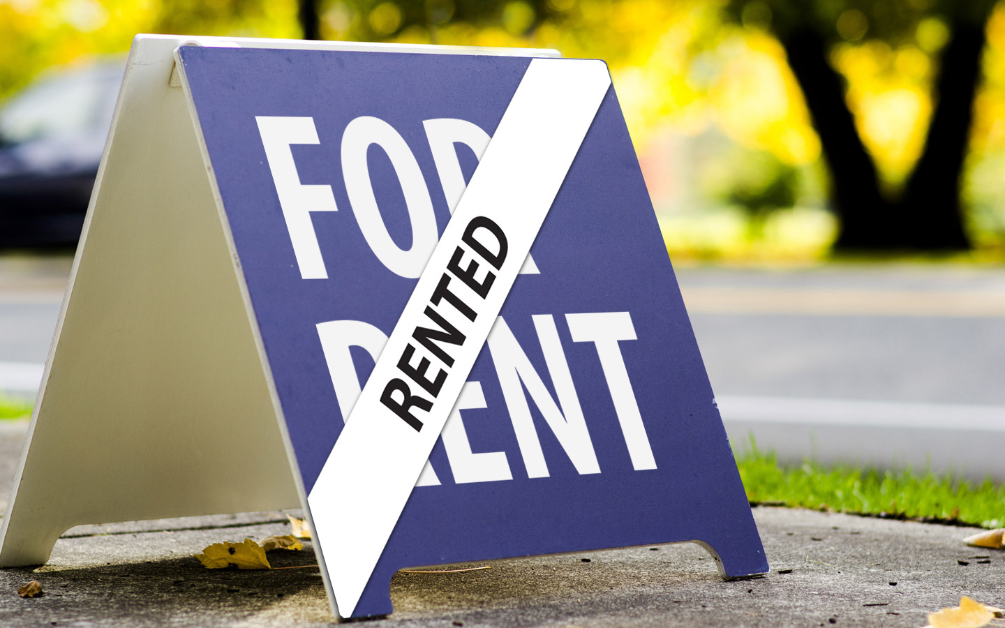 for rent signboard and rented sign on top