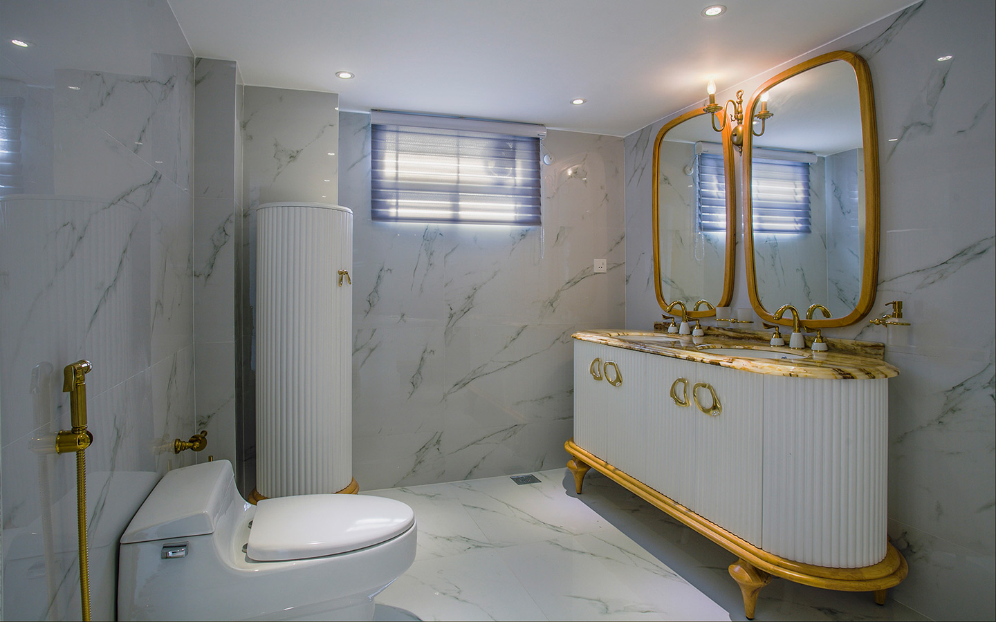 A nicely decorated washroom with proper ventilation