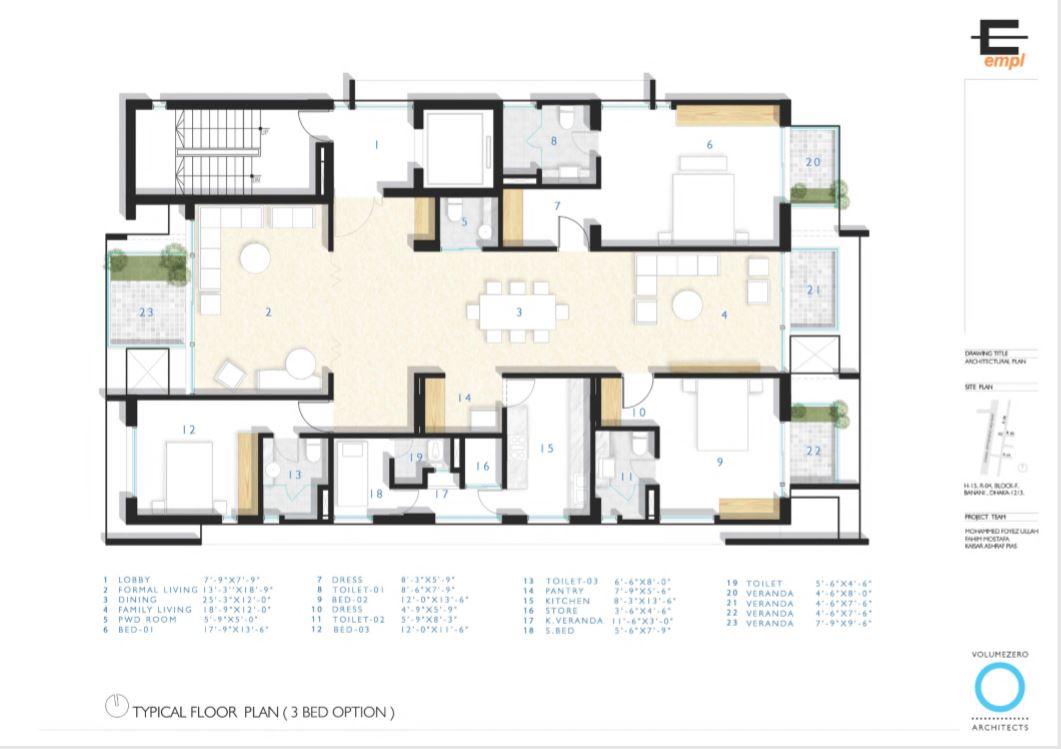 EMPL Anondo Floor Plan (3 Bedroom Configuration)