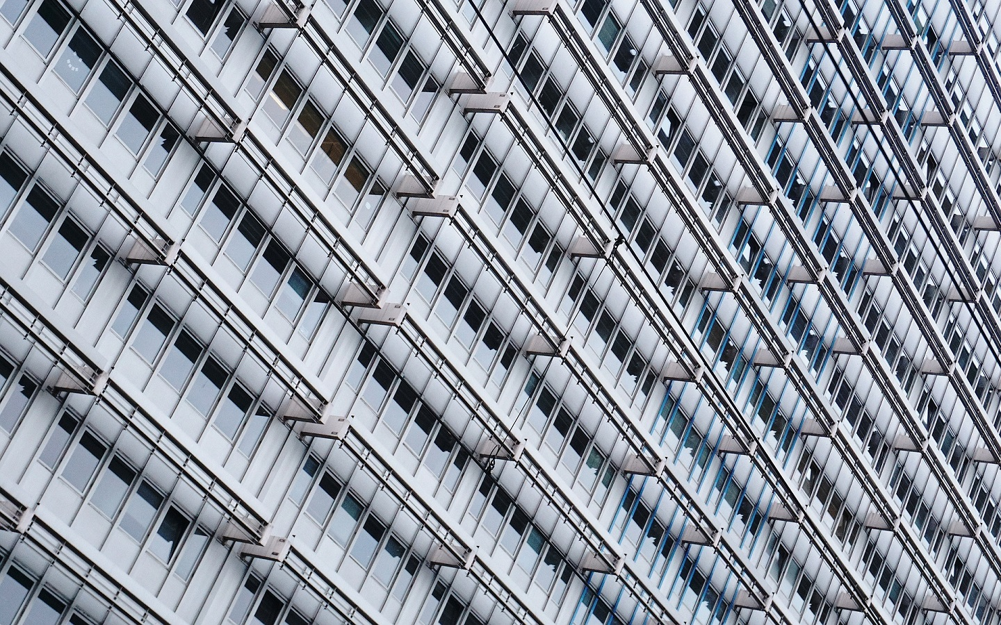 a building with aluminum window panes