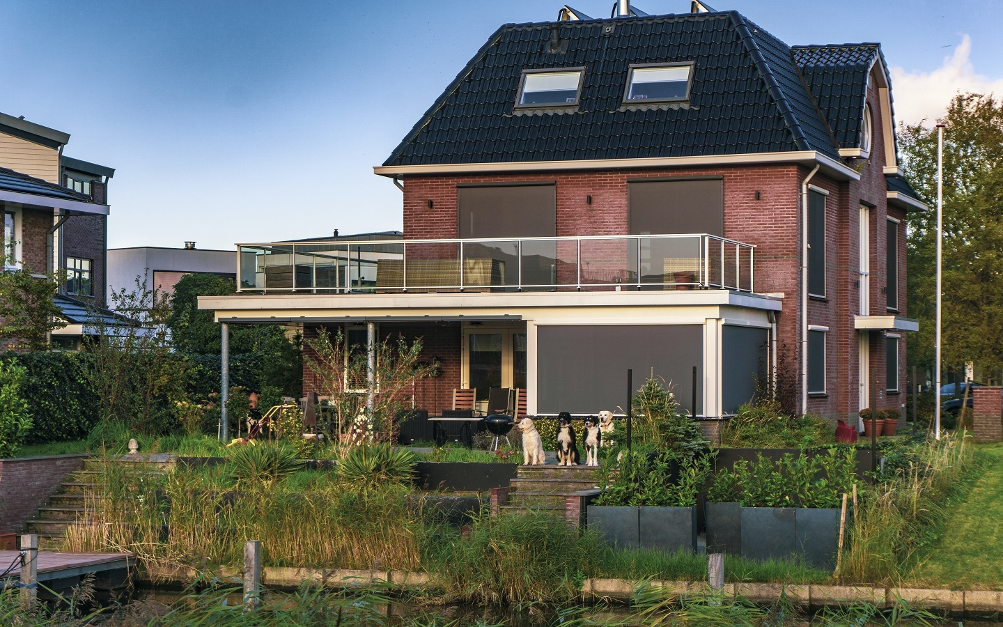 a home with slanted rooftop
