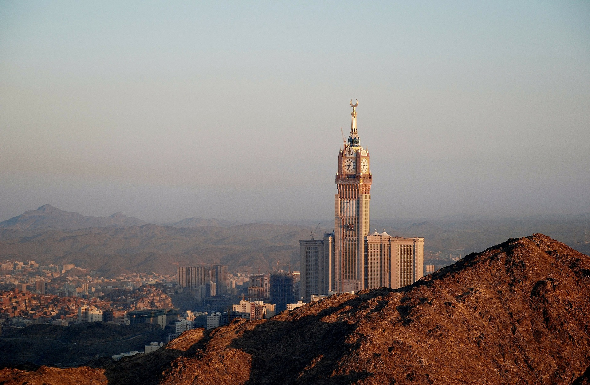 Abraj Al-Bait from the top of a hill