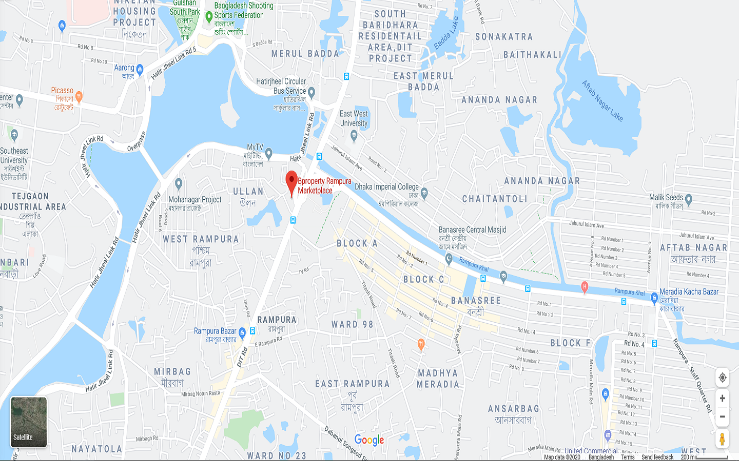 Displaying the location of the Bproperty Marketplace Rampura