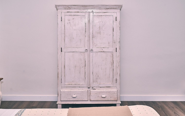 distressed wooden closet