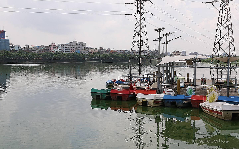 Paddle boat service in Hatirjheel Lake