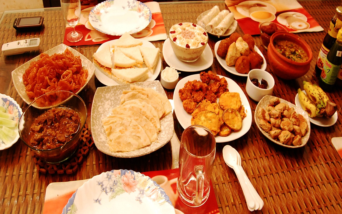 iftar table of food