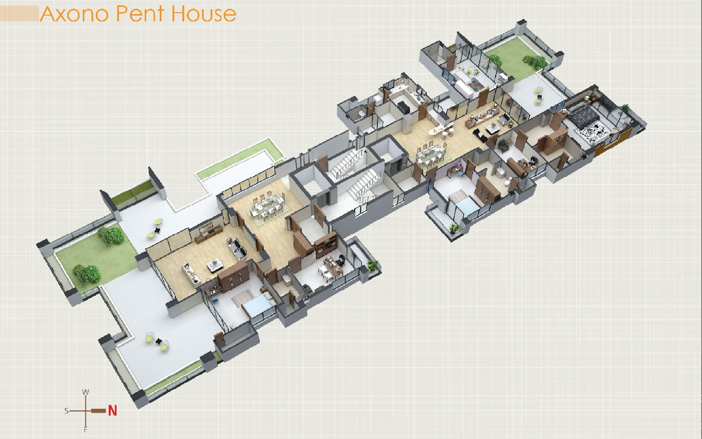 Axonometric view of the penthouse