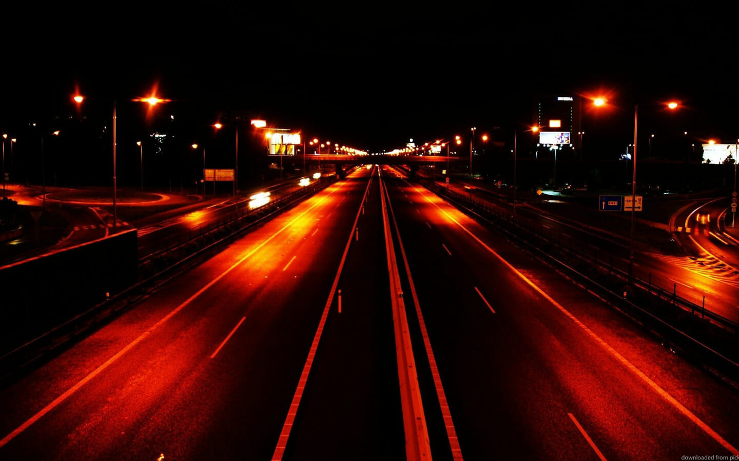 Night view of a road
