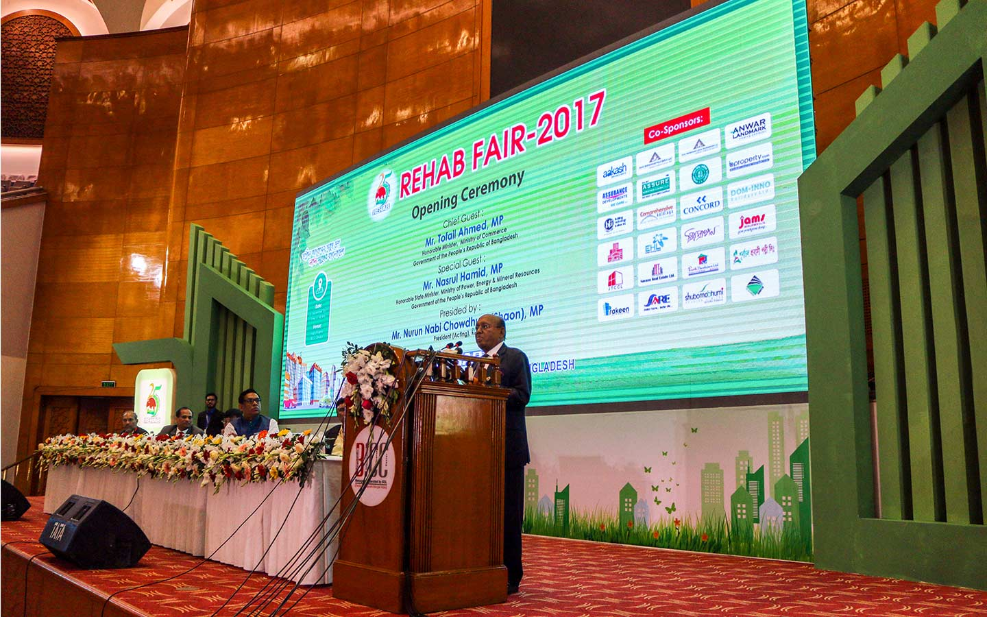 Honorable Minister giving speech on the Ceremony in REHAB FAIR 2017