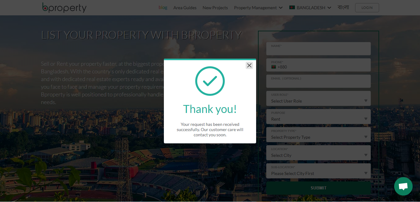 Successful submission message on Bproperty