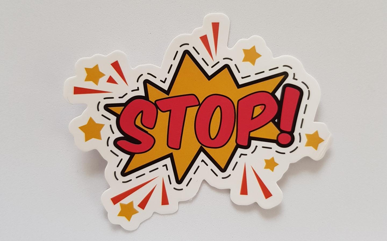 cartoonized stop sticker