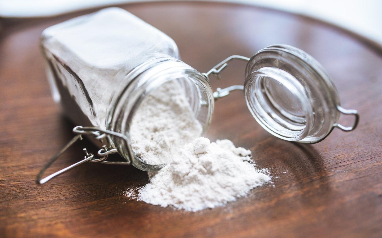 a jar of spilled baking soda