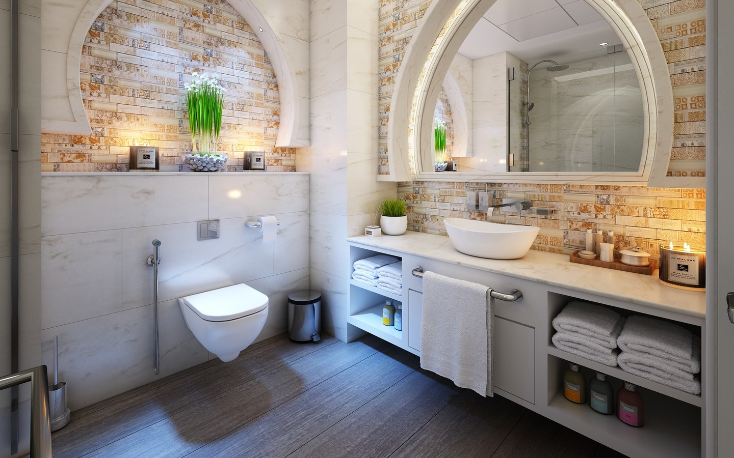 One of the tricks to make small bathrooms feel bigger is to use neutral colors on the wall