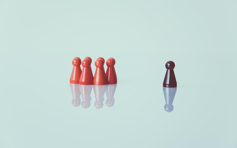 pawns representing social distancing