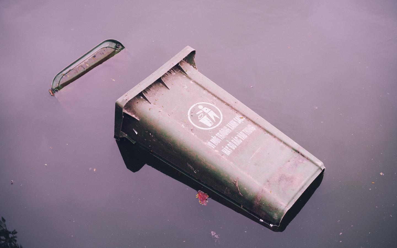 A flying trashcan