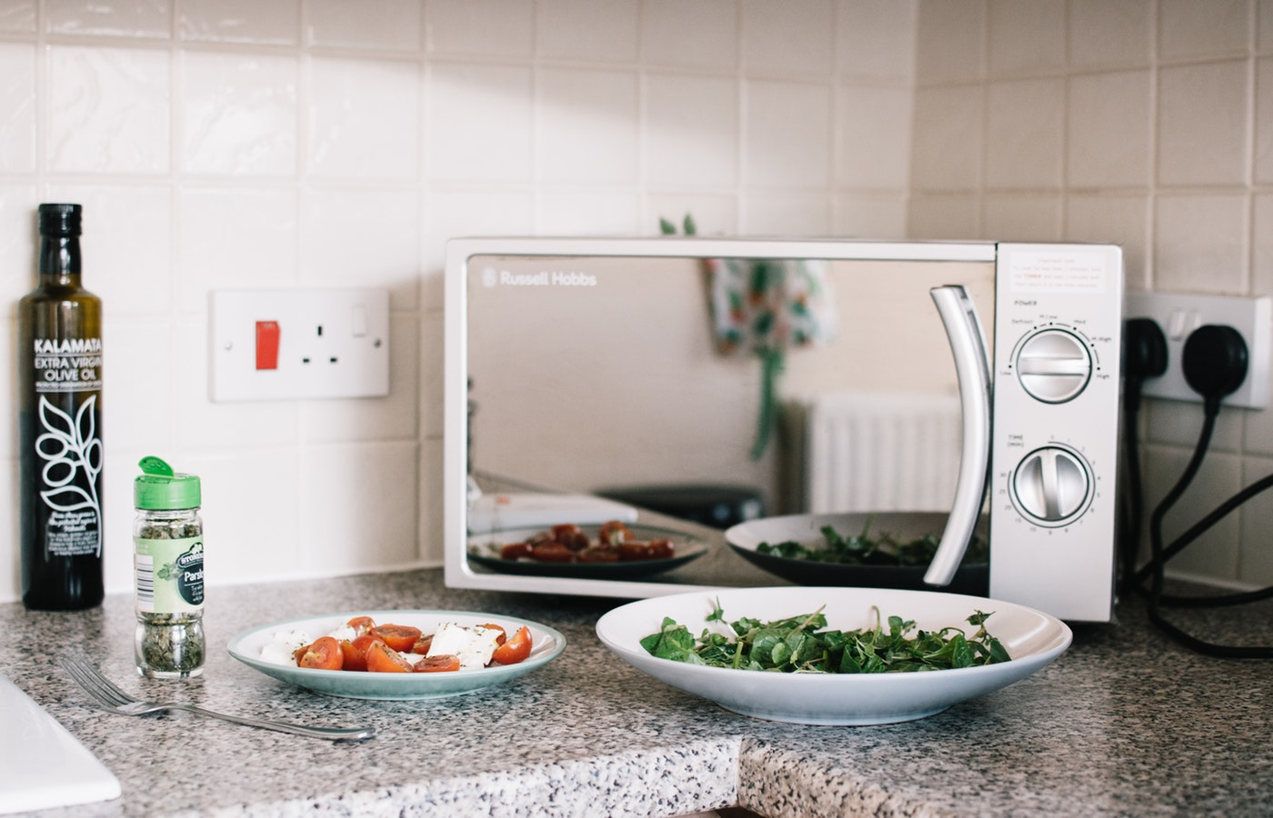 Microwave on a counter