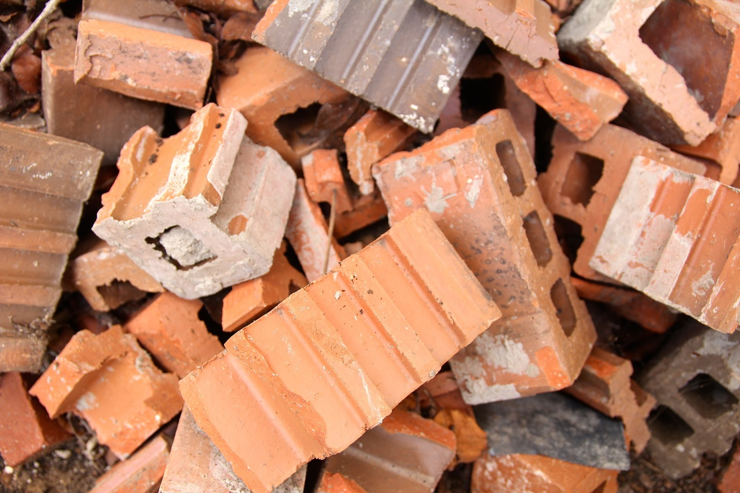 bricks crushed into pieces