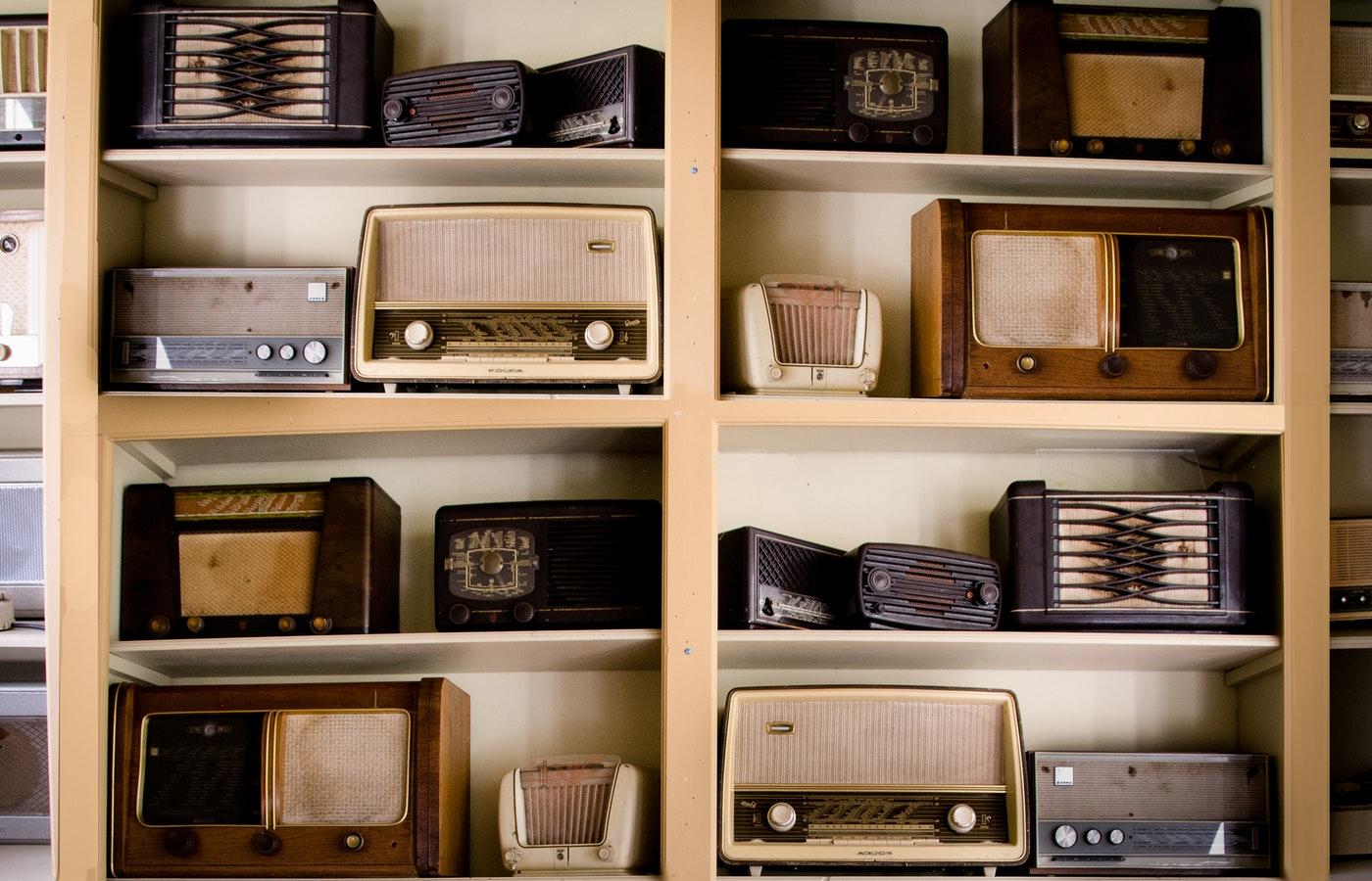 shelves of radios