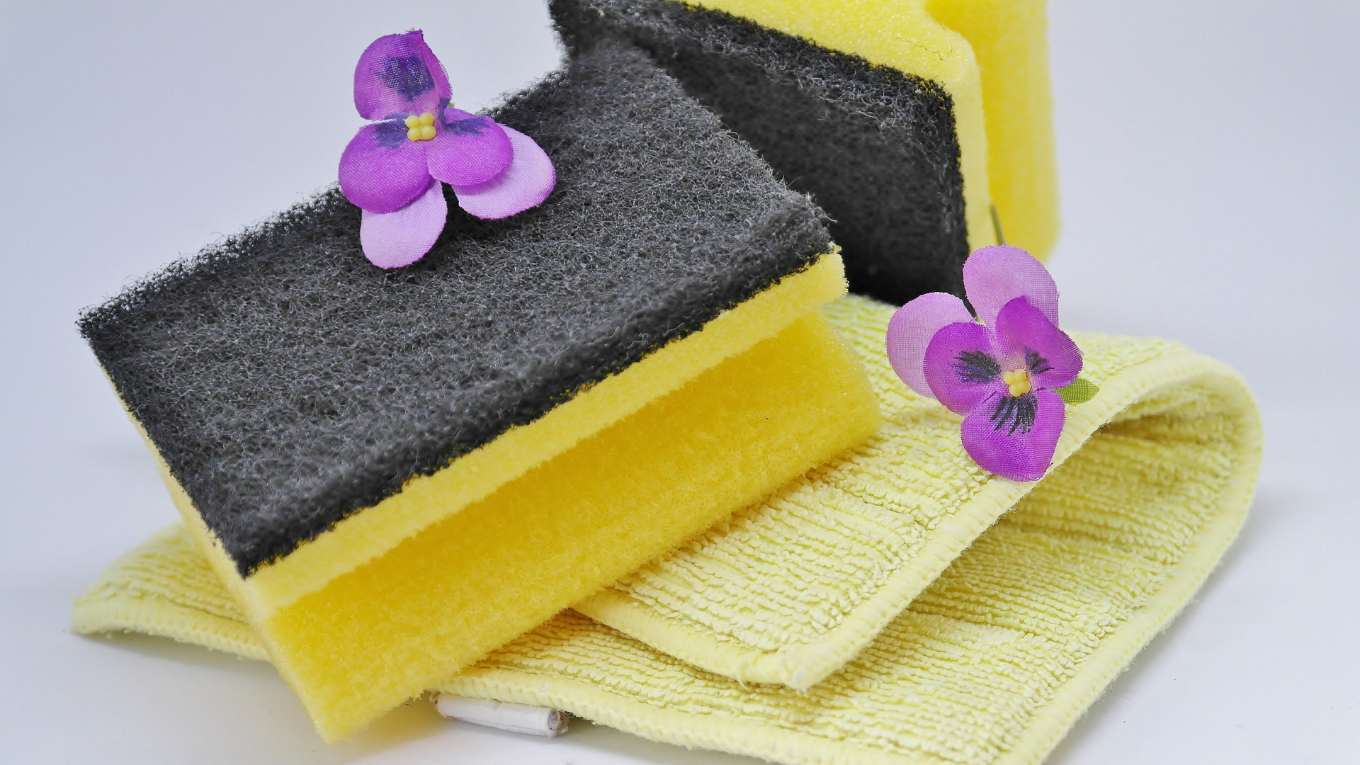 sponges and a towel