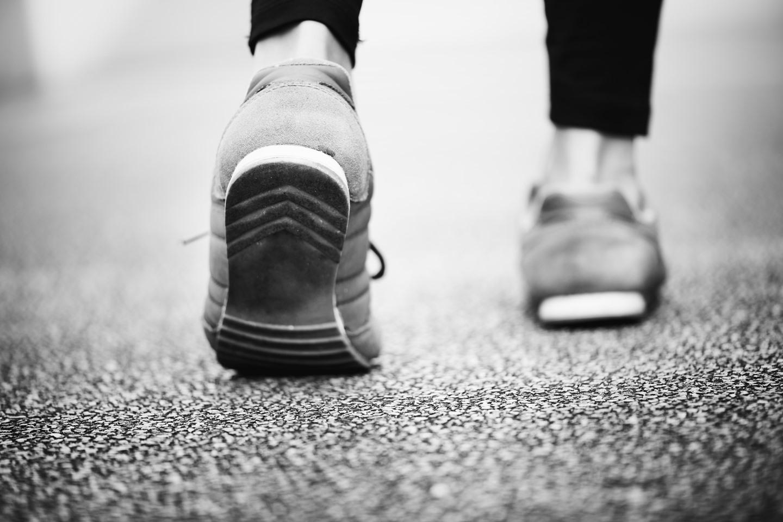 women taking a step