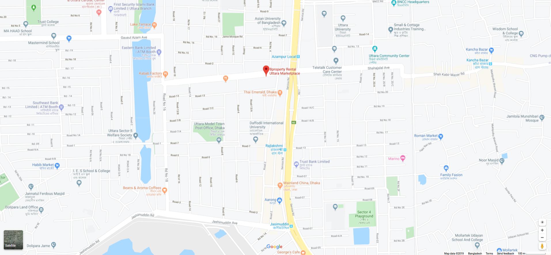 Location Map of Bproperty Rental Uttara Marketplace