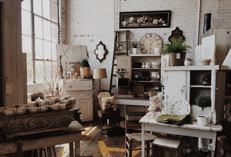 Vintage furniture, old textiles