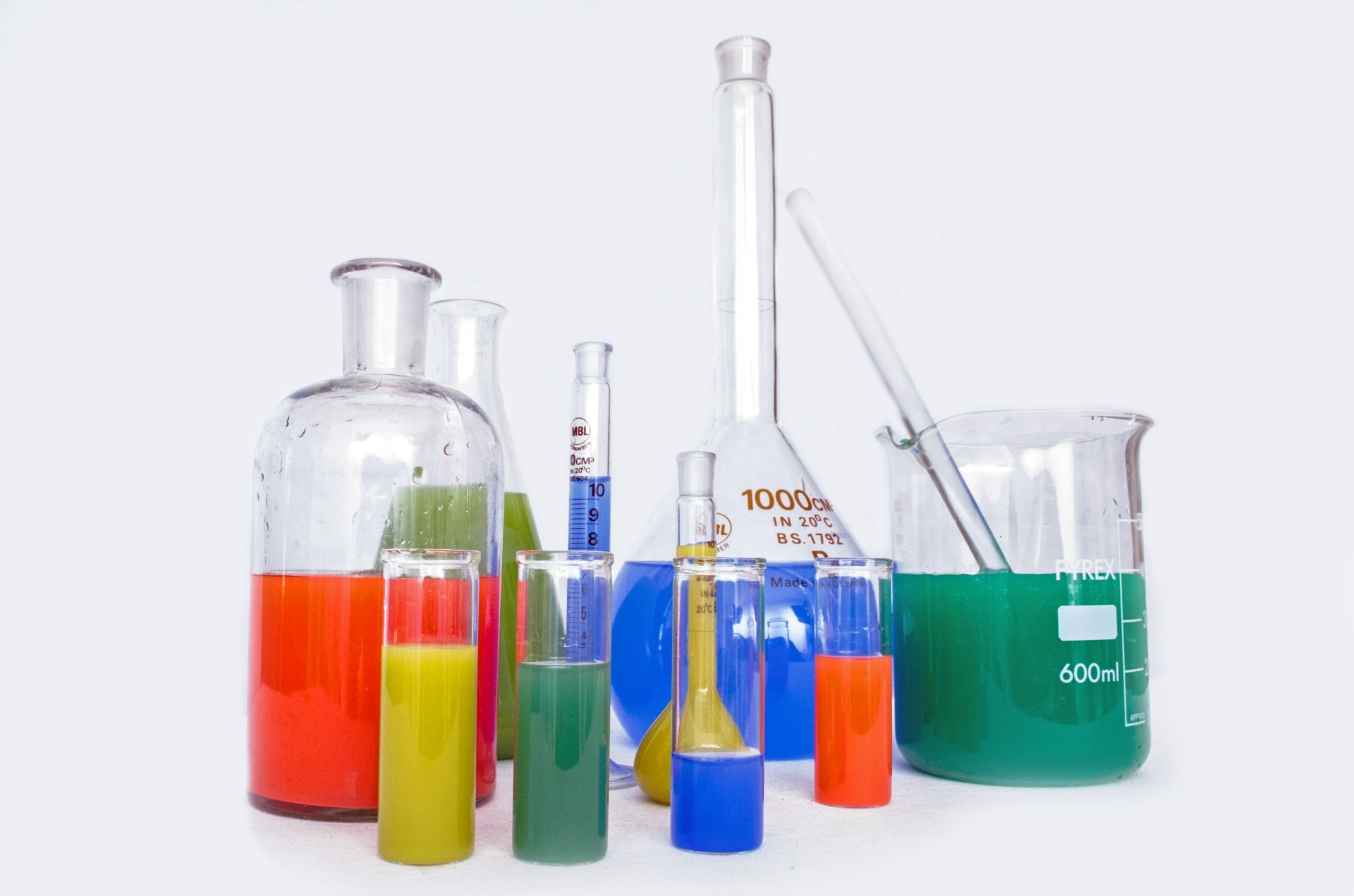 beakers and chemicals