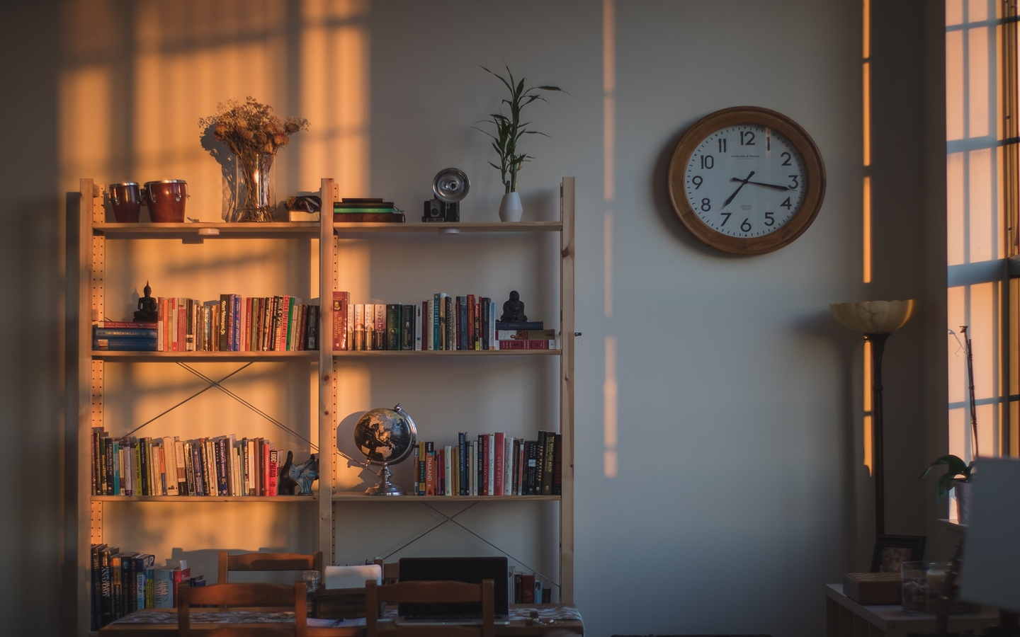 Bookshelves area considered as marks of sophisticated apartments