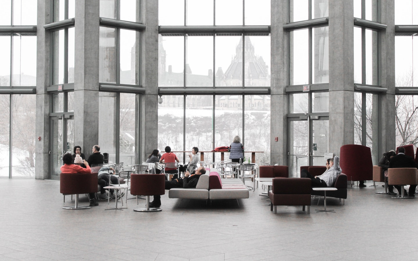 office lobby with large windows