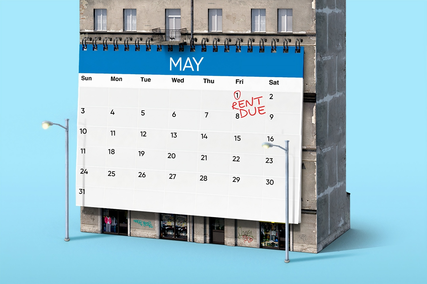 A picture of calendar on a building surface