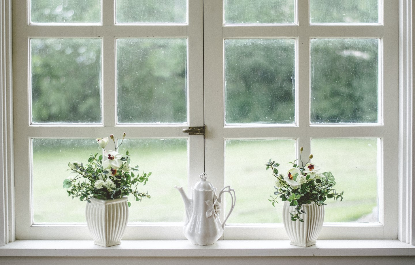 a window with 2 plants and a teapot