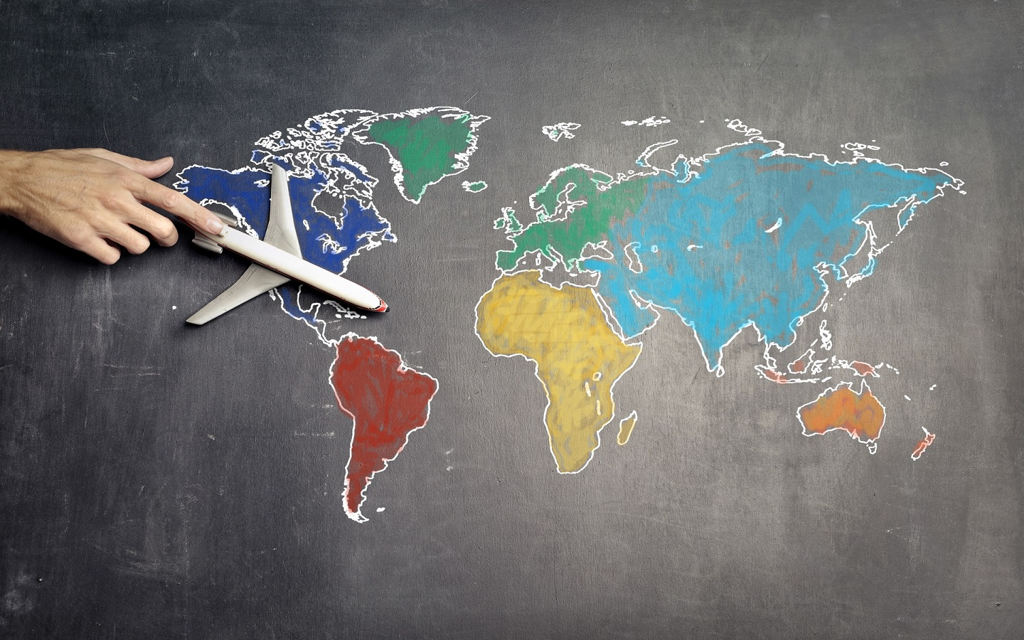 plane over world map