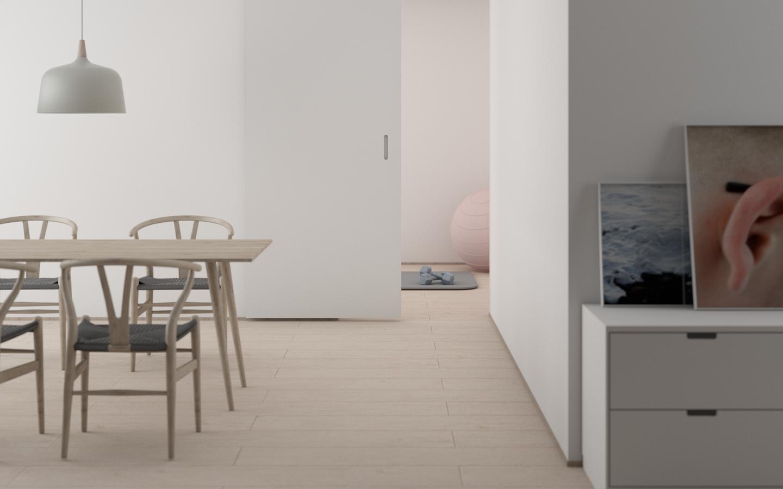 Split a studio apartment by maintaining a color scheme