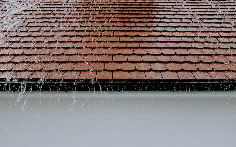 Rain falling on Sloped Tiled Roof