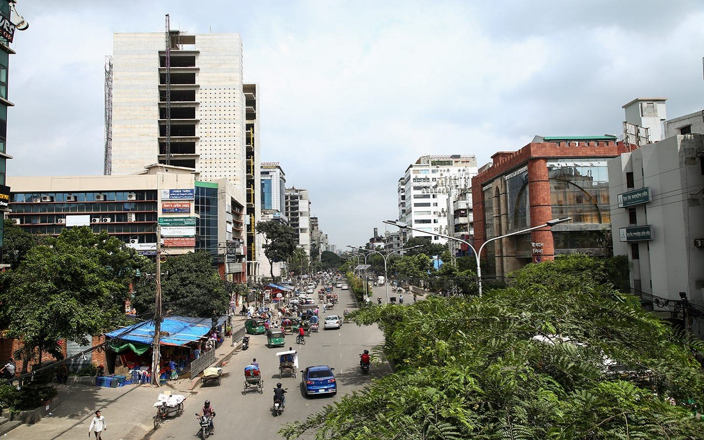 the road full of people and vehicle