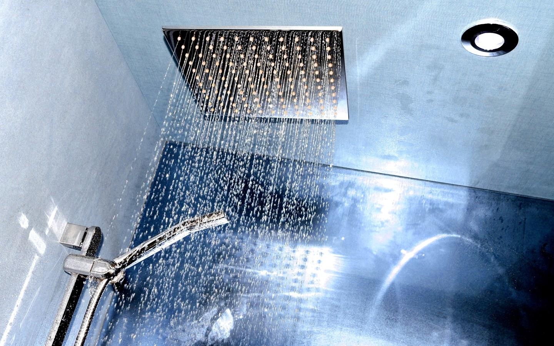 Concealed shower in bathroom