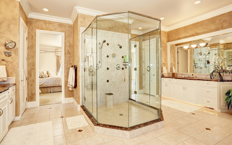 bathroom with neo-angle shower design