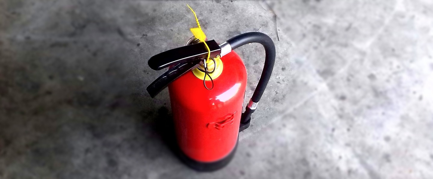 top view of a fire extinguisher